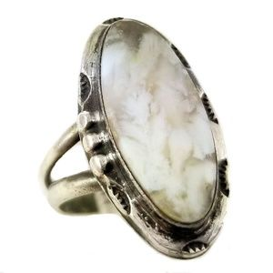 Old Pawn Sterling Silver Petrified Wood Agate Ring